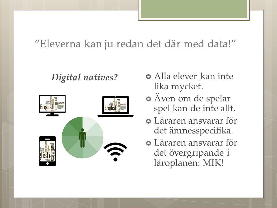 Eleverna kan ju redan det där med data! Digital natives.