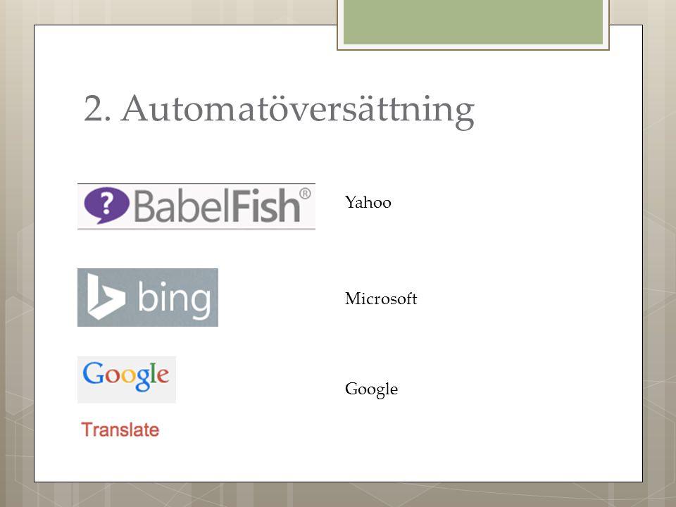 2. Automatöversättning Yahoo Microsoft Google