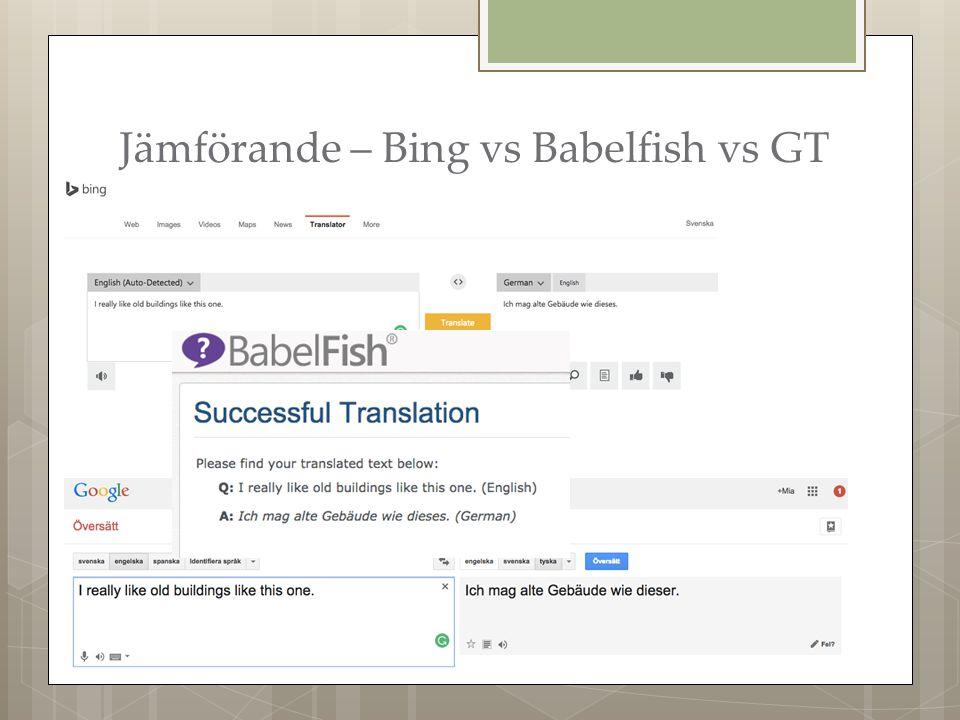 Jämförande – Bing vs Babelfish vs GT