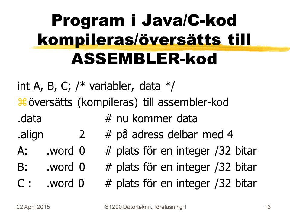 22 April 2015IS1200 Datorteknik, föreläsning 113 Program i Java/C-kod kompileras/översätts till ASSEMBLER-kod int A, B, C;/* variabler, data */ zöversätts (kompileras) till assembler-kod.data# nu kommer data.align 2# på adress delbar med 4 A:.word 0# plats för en integer /32 bitar B:.word 0# plats för en integer /32 bitar C :.word 0# plats för en integer /32 bitar
