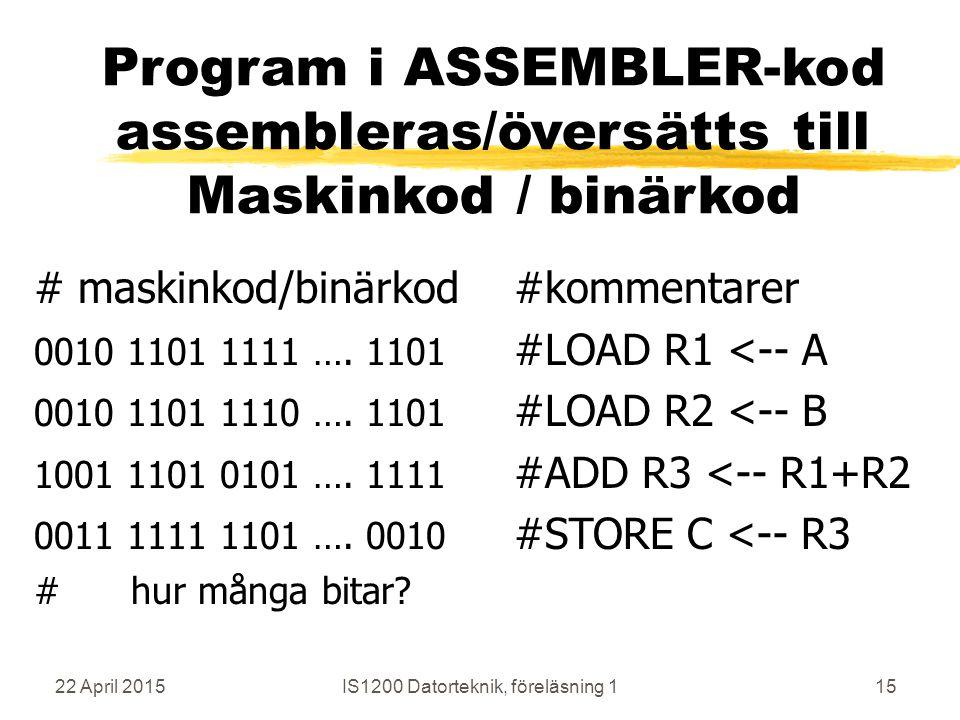 22 April 2015IS1200 Datorteknik, föreläsning 115 Program i ASSEMBLER-kod assembleras/översätts till Maskinkod / binärkod # maskinkod/binärkod#kommentarer 0010 1101 1111 ….