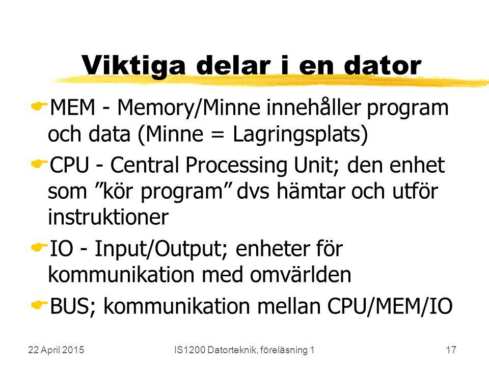22 April 2015IS1200 Datorteknik, föreläsning 117 Viktiga delar i en dator  MEM - Memory/Minne innehåller program och data (Minne = Lagringsplats)  CPU - Central Processing Unit; den enhet som kör program dvs hämtar och utför instruktioner  IO - Input/Output; enheter för kommunikation med omvärlden  BUS; kommunikation mellan CPU/MEM/IO
