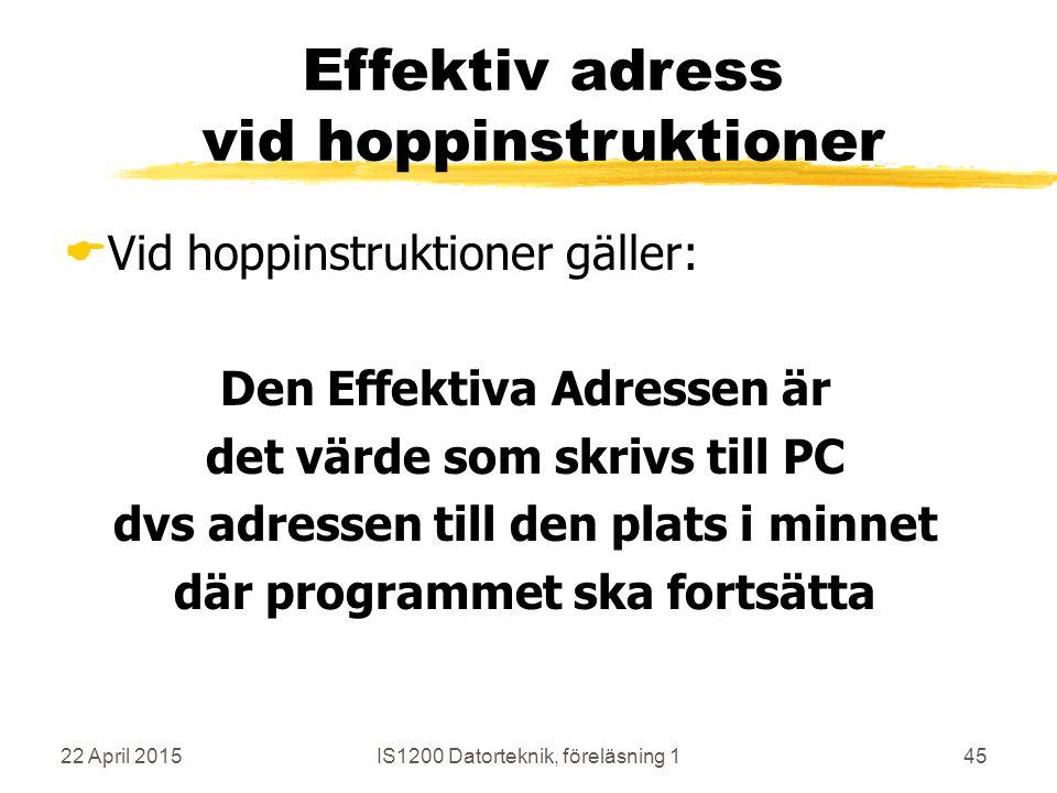 22 April 2015IS1200 Datorteknik, föreläsning 145 Effektiv adress vid hoppinstruktioner  Vid hoppinstruktioner gäller: Den Effektiva Adressen är det v