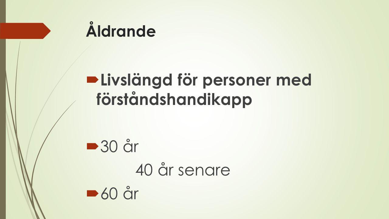 Åldrande  Livslängd för personer med förståndshandikapp  30 år 40 år senare  60 år