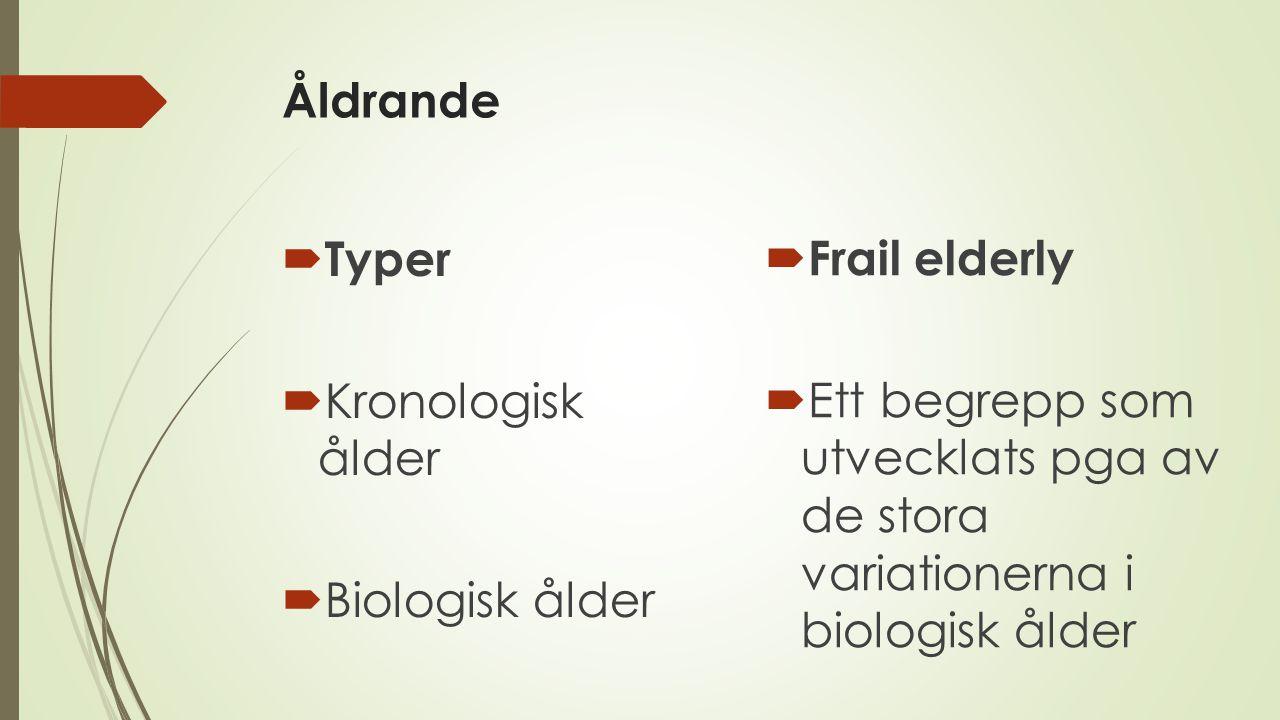 Åldrande  Typer  Kronologisk ålder  Biologisk ålder  Frail elderly  Ett begrepp som utvecklats pga av de stora variationerna i biologisk ålder