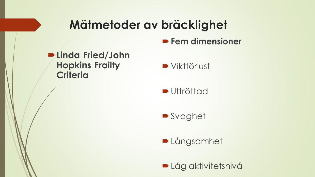 Mätmetoder av bräcklighet  Linda Fried/John Hopkins Frailty Criteria  Fem dimensioner  Viktförlust  Uttröttad  Svaghet  Långsamhet  Låg aktivit