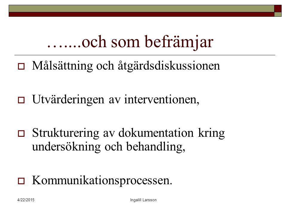 4/22/2015Ingalill Larsson …....och som befrämjar  Målsättning och åtgärdsdiskussionen  Utvärderingen av interventionen,  Strukturering av dokumentation kring undersökning och behandling,  Kommunikationsprocessen.