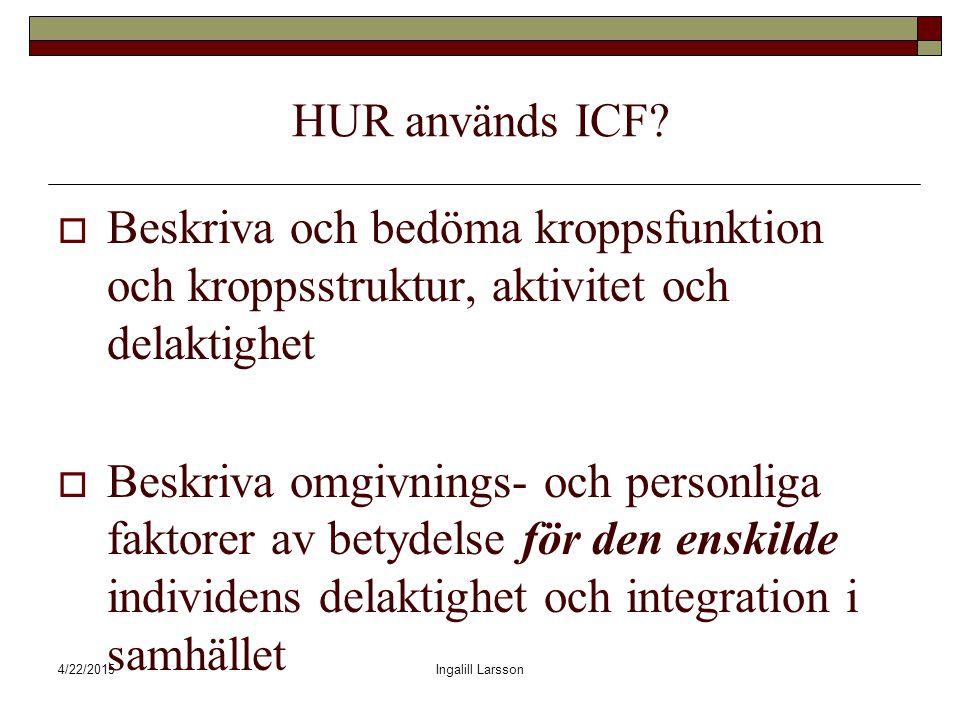 4/22/2015Ingalill Larsson HUR används ICF.