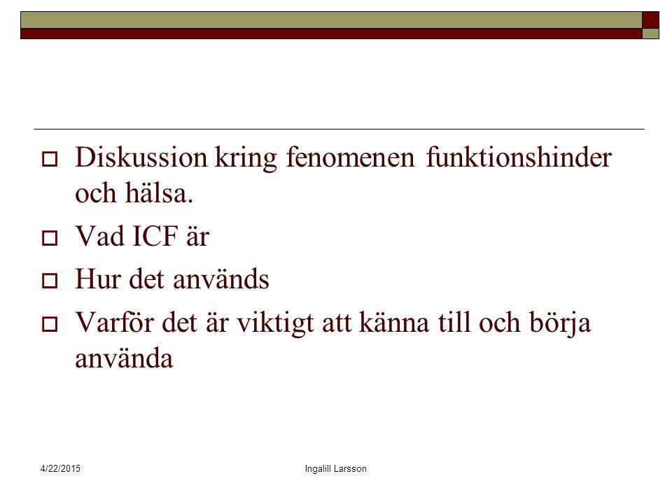 4/22/2015Ingalill Larsson  Diskussion kring fenomenen funktionshinder och hälsa.