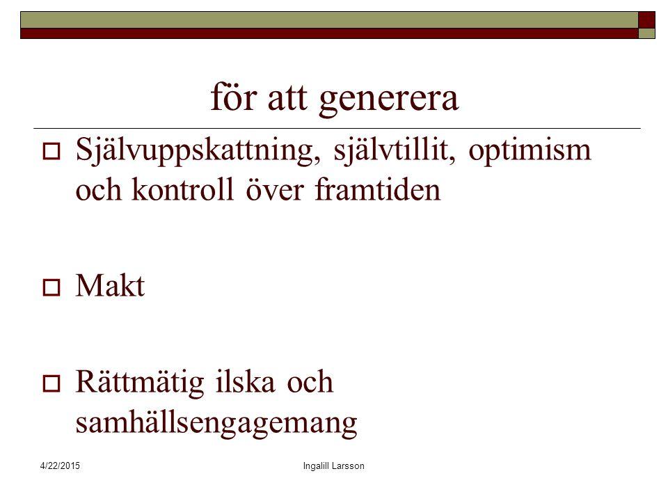 4/22/2015Ingalill Larsson för att generera  Självuppskattning, självtillit, optimism och kontroll över framtiden  Makt  Rättmätig ilska och samhällsengagemang