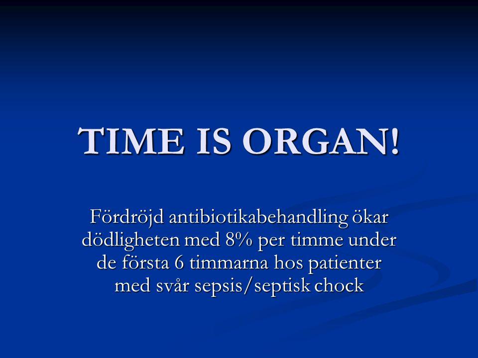 TIME IS ORGAN! Fördröjd antibiotikabehandling ökar dödligheten med 8% per timme under de första 6 timmarna hos patienter med svår sepsis/septisk chock
