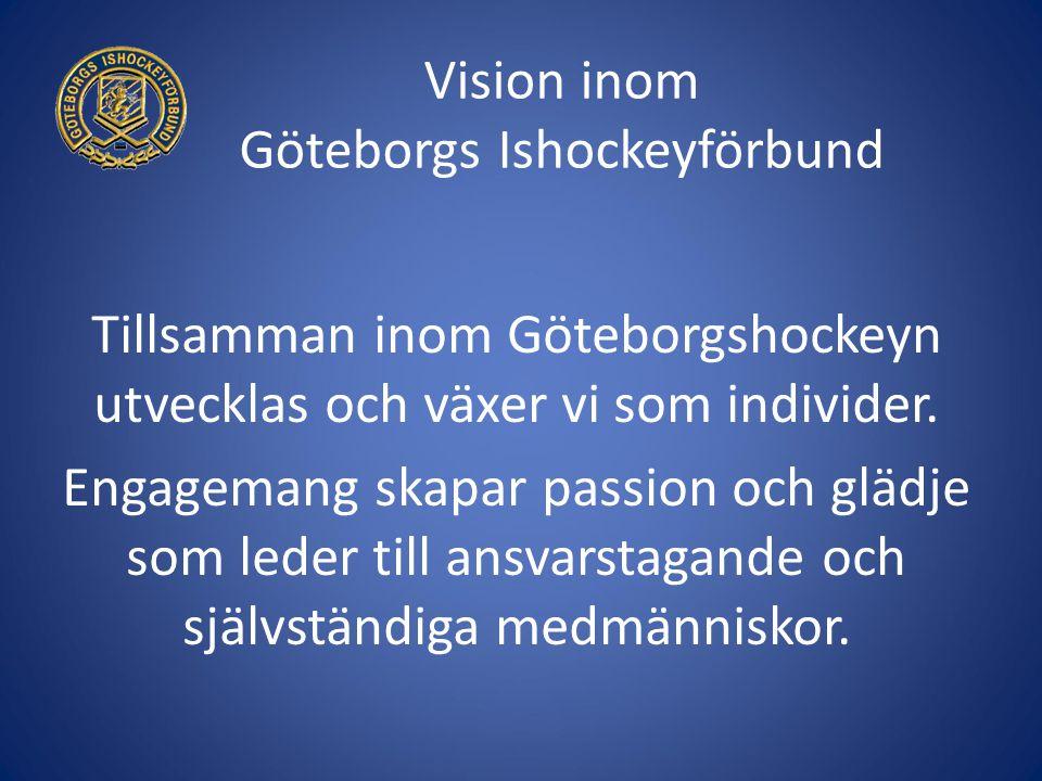 Vision inom Göteborgs Ishockeyförbund Tillsamman inom Göteborgshockeyn utvecklas och växer vi som individer. Engagemang skapar passion och glädje som