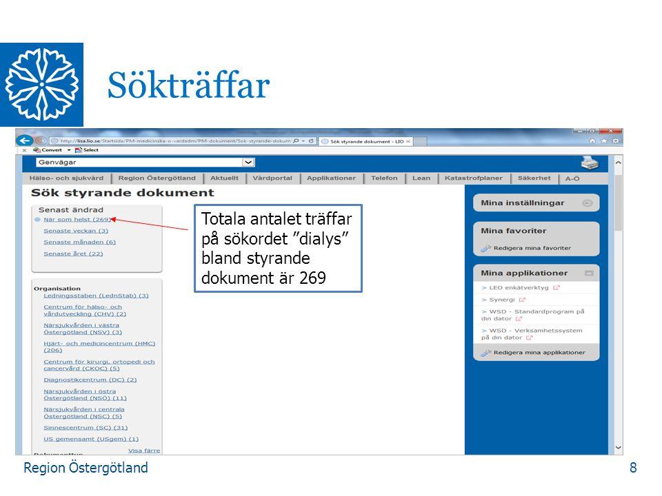 Region Östergötland 8 Sökträffar Totala antalet träffar på sökordet dialys bland styrande dokument är 269