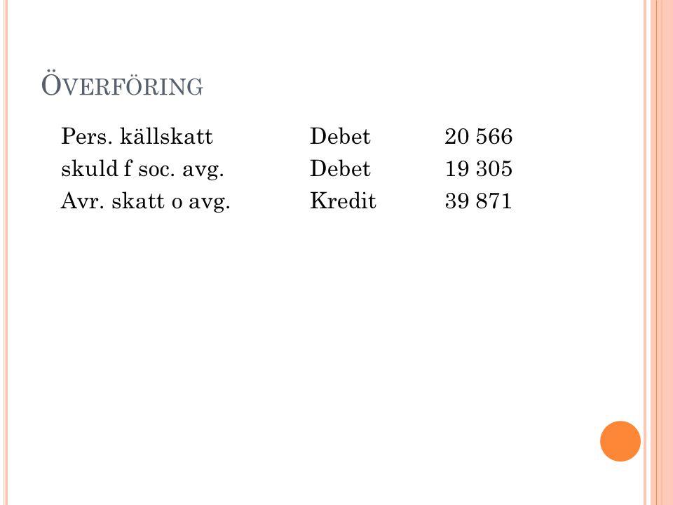 Ö VERFÖRING Pers. källskattDebet20 566 skuld f soc. avg.Debet19 305 Avr. skatt o avg.Kredit39 871
