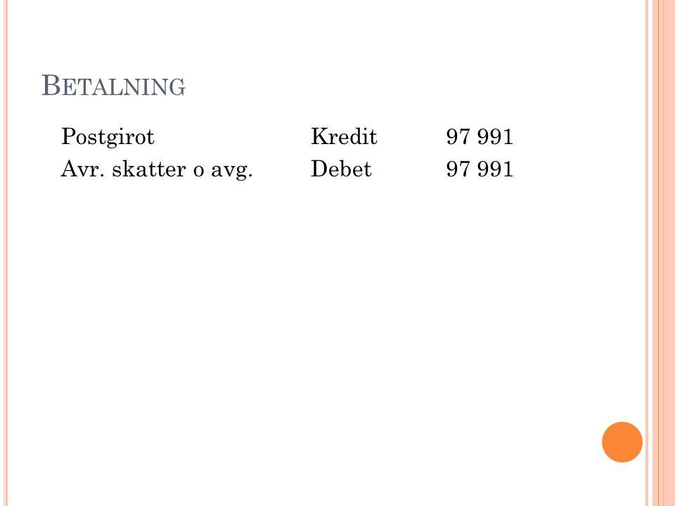 B ETALNING PostgirotKredit97 991 Avr. skatter o avg.Debet97 991
