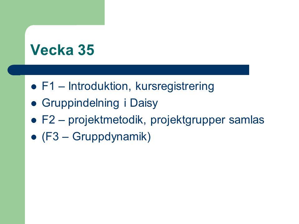 Vecka 35 F1 – Introduktion, kursregistrering Gruppindelning i Daisy F2 – projektmetodik, projektgrupper samlas (F3 – Gruppdynamik)