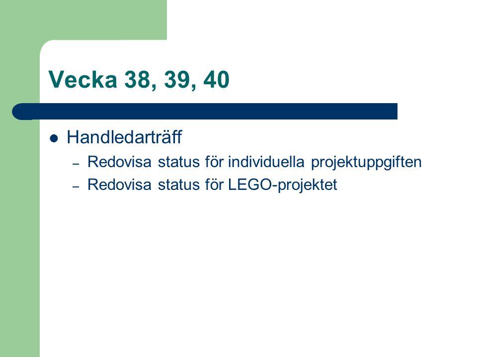 Vecka 38, 39, 40 Handledarträff – Redovisa status för individuella projektuppgiften – Redovisa status för LEGO-projektet