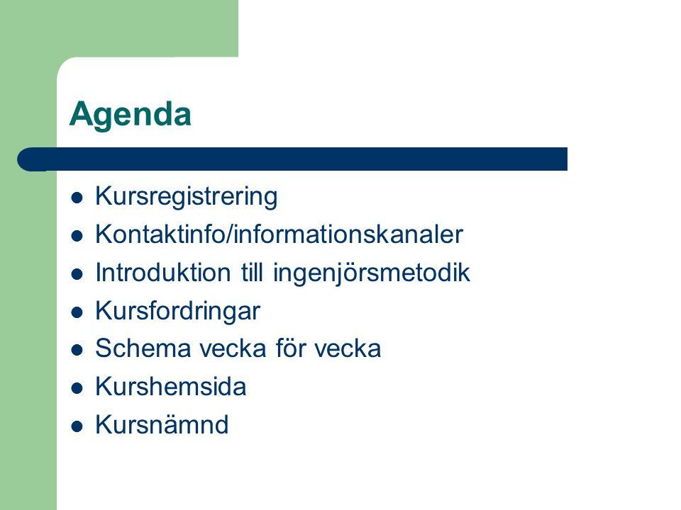 Agenda Kursregistrering Kontaktinfo/informationskanaler Introduktion till ingenjörsmetodik Kursfordringar Schema vecka för vecka Kurshemsida Kursnämnd