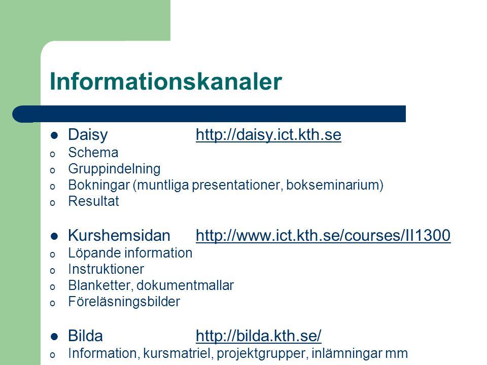 Informationskanaler Daisy http://daisy.ict.kth.sehttp://daisy.ict.kth.se o Schema o Gruppindelning o Bokningar (muntliga presentationer, bokseminarium