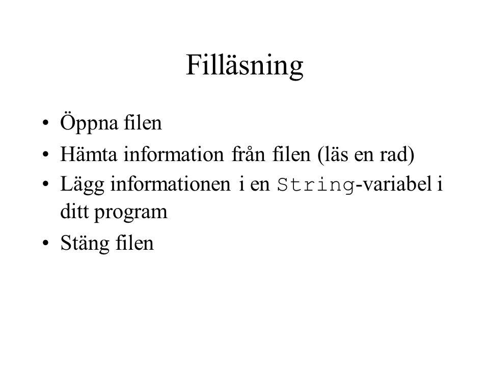 Skapa en fil Skapa filen i Emacs Exempel: inköp.txt bananer vitkål äpplen glödlampor djupfryst majs falukorv ägg grädde lättfil