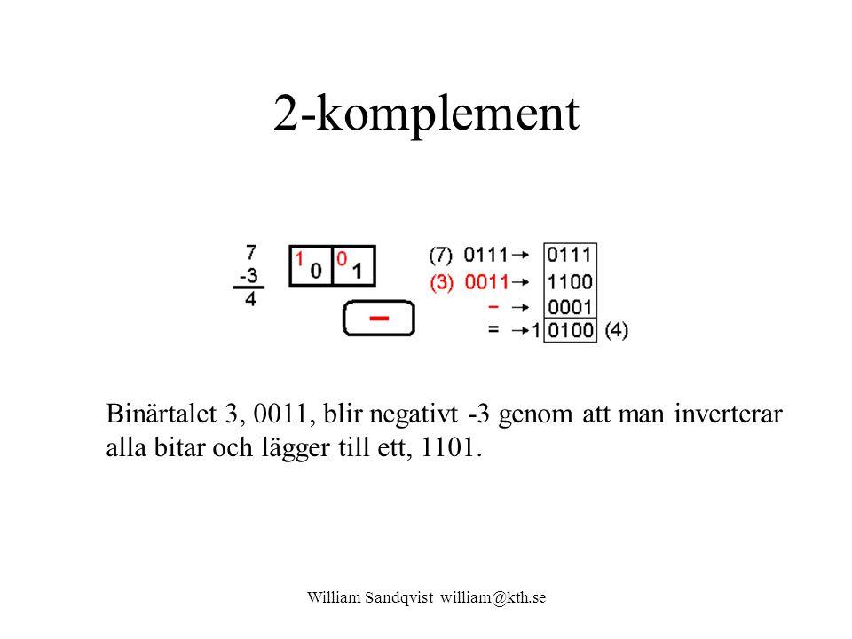 William Sandqvist william@kth.se 2-komplement Binärtalet 3, 0011, blir negativt -3 genom att man inverterar alla bitar och lägger till ett, 1101.