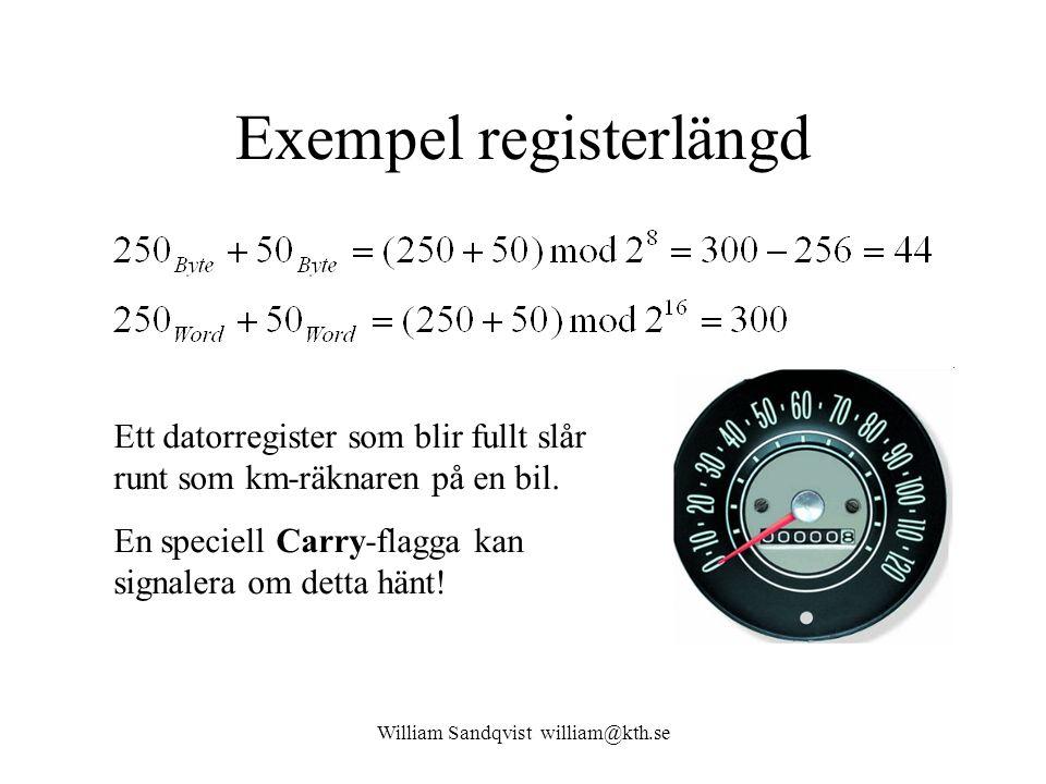 William Sandqvist william@kth.se Exempel registerlängd Ett datorregister som blir fullt slår runt som km-räknaren på en bil. En speciell Carry-flagga