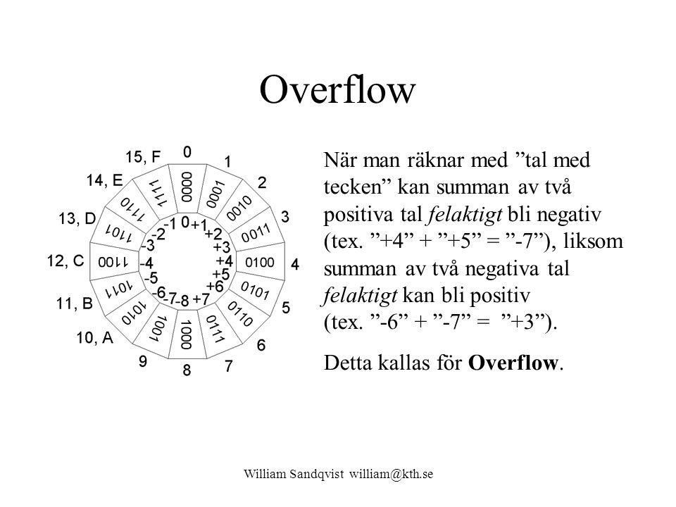 """William Sandqvist william@kth.se Overflow När man räknar med """"tal med tecken"""" kan summan av två positiva tal felaktigt bli negativ (tex. """"+4"""" + """"+5"""" ="""