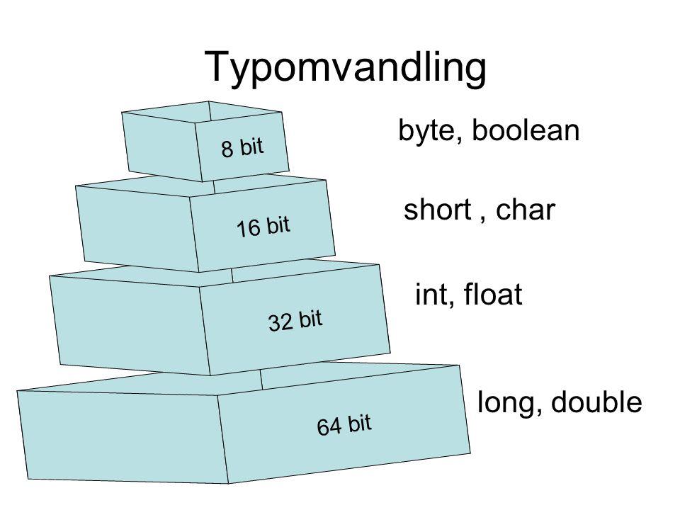 Wrapper klasser Primitiva datatyperReferens datatyper byteByte shortShort intInteger longLong floatFloat doubleDouble charCharacter booleanBoolean