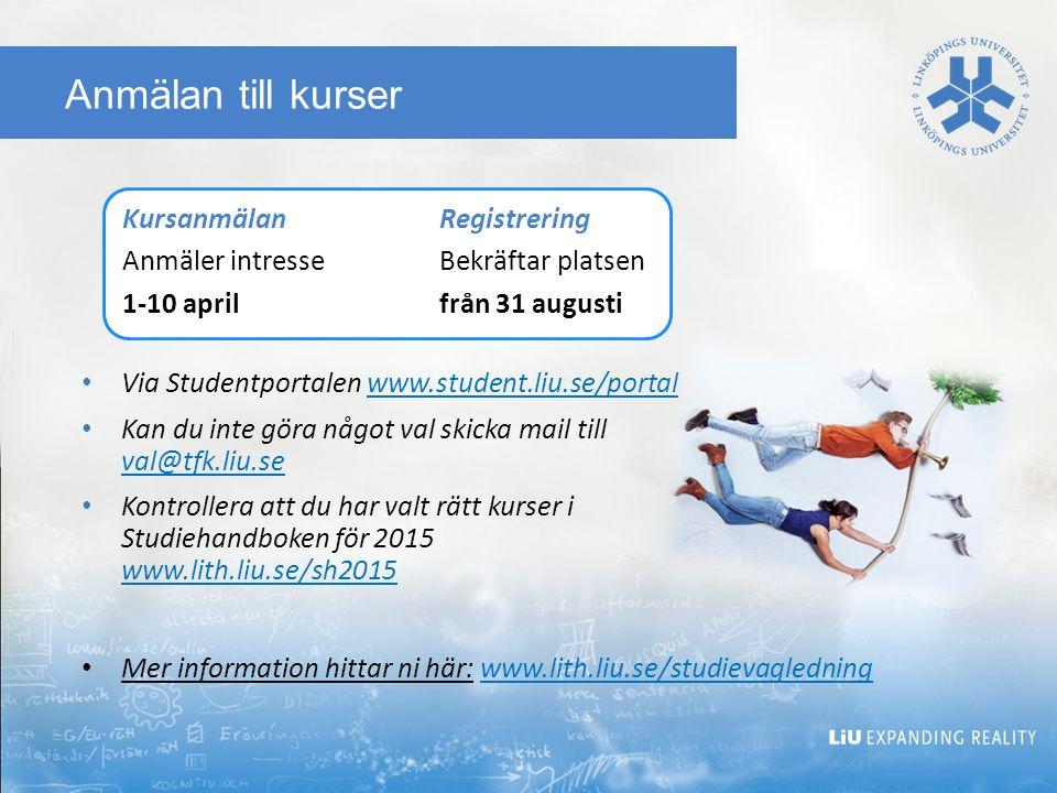 Anmälan till kurser Via Studentportalen www.student.liu.se/portalwww.student.liu.se/portal Kan du inte göra något val skicka mail till val@tfk.liu.se val@tfk.liu.se Kontrollera att du har valt rätt kurser i Studiehandboken för 2015 www.lith.liu.se/sh2015 www.lith.liu.se/sh2015 Mer information hittar ni här: www.lith.liu.se/studievagledningwww.lith.liu.se/studievagledning KursanmälanRegistrering Anmäler intresseBekräftar platsen 1-10 aprilfrån 31 augusti