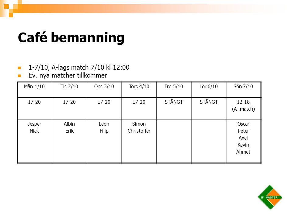 Café bemanning 1-7/10, A-lags match 7/10 kl 12:00 Ev.