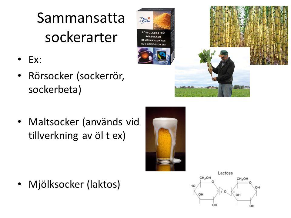 Sammansatta sockerarter Ex: Rörsocker (sockerrör, sockerbeta) Maltsocker (används vid tillverkning av öl t ex) Mjölksocker (laktos)
