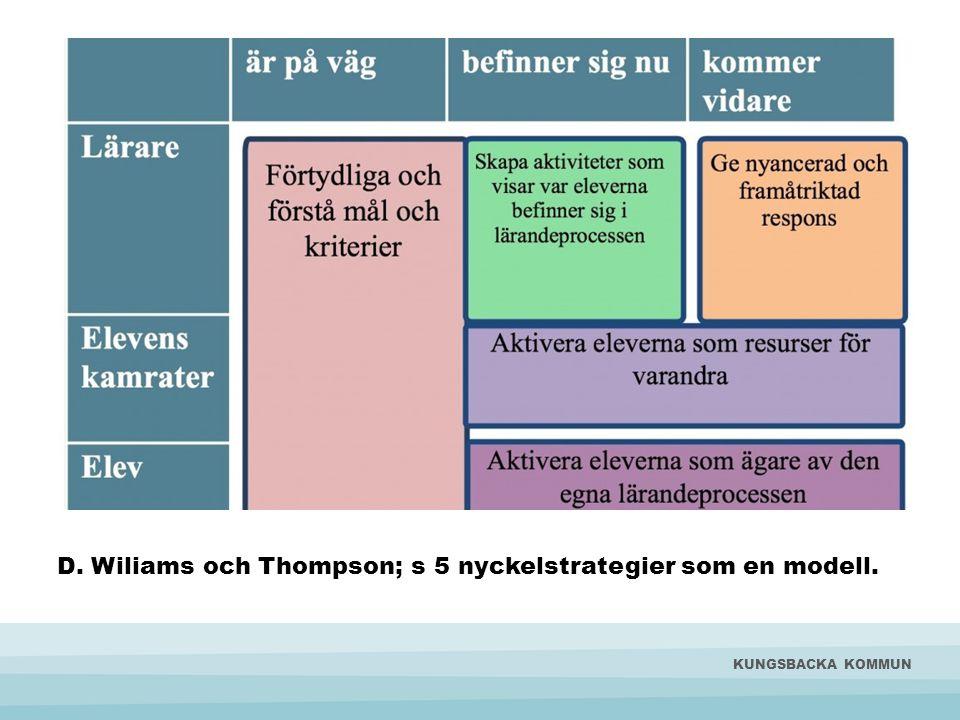 D. Wiliams och Thompson; s 5 nyckelstrategier som en modell. KUNGSBACKA KOMMUN