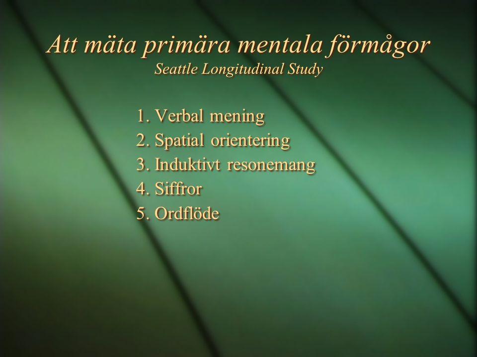 Att mäta primära mentala förmågor Seattle Longitudinal Study 1. Verbal mening 2. Spatial orientering 3. Induktivt resonemang 4. Siffror 5. Ordflöde 1.
