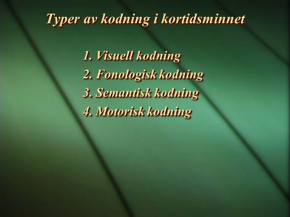 Typer av kodning i kortidsminnet 1. Visuell kodning 2. Fonologisk kodning 3. Semantisk kodning 4. Motorisk kodning 1. Visuell kodning 2. Fonologisk ko