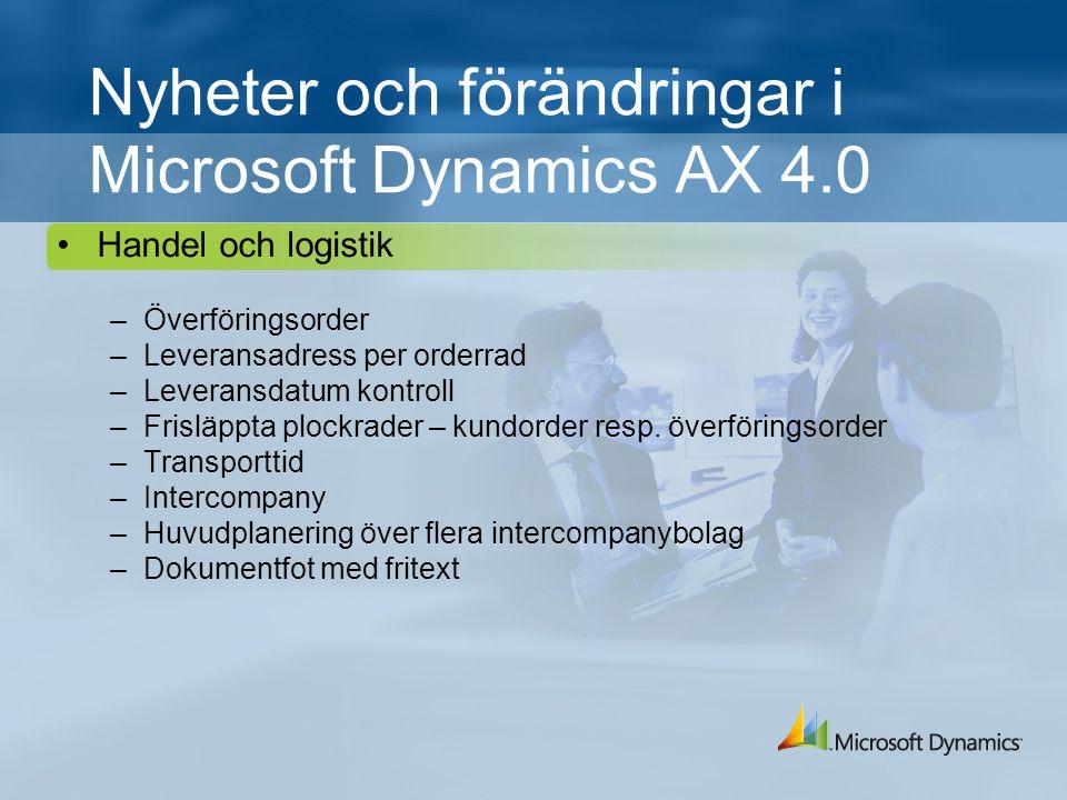 Nyheter och förändringar i Microsoft Dynamics AX 4.0 Handel och logistik –Överföringsorder –Leveransadress per orderrad –Leveransdatum kontroll –Frisläppta plockrader – kundorder resp.