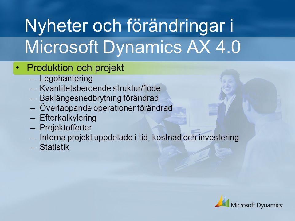 Nyheter och förändringar i Microsoft Dynamics AX 4.0 Produktion och projekt –Legohantering –Kvantitetsberoende struktur/flöde –Baklängesnedbrytning förändrad –Överlappande operationer förändrad –Efterkalkylering –Projektofferter –Interna projekt uppdelade i tid, kostnad och investering –Statistik