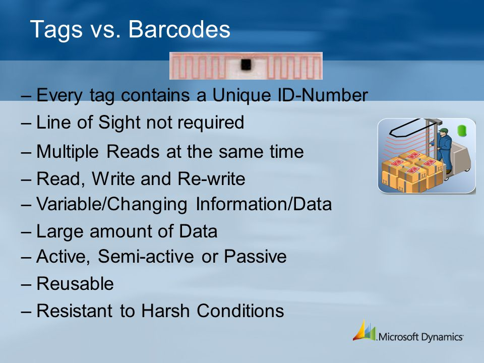 Tags vs. Barcodes –Every tag contains a Unique ID-Number –Line of Sight not required –Multiple Reads at the same time –Read, Write and Re-write –Varia