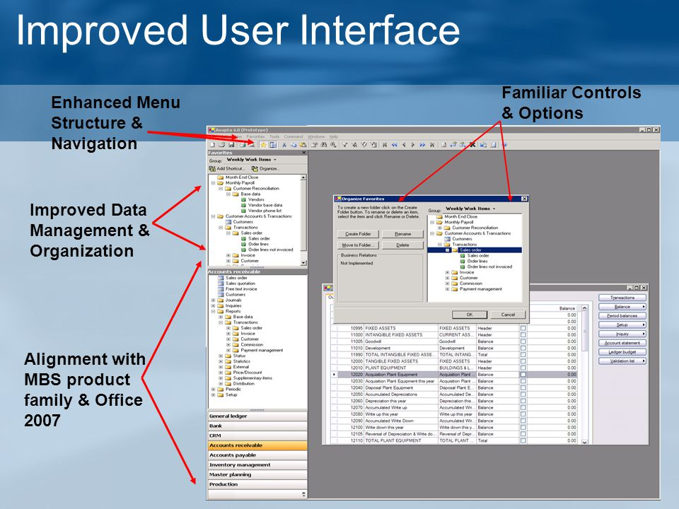 Improved User Interface Enhanced Menu Structure & Navigation Alignment with MBS product family & Office 2007 Familiar Controls & Options Improved Data