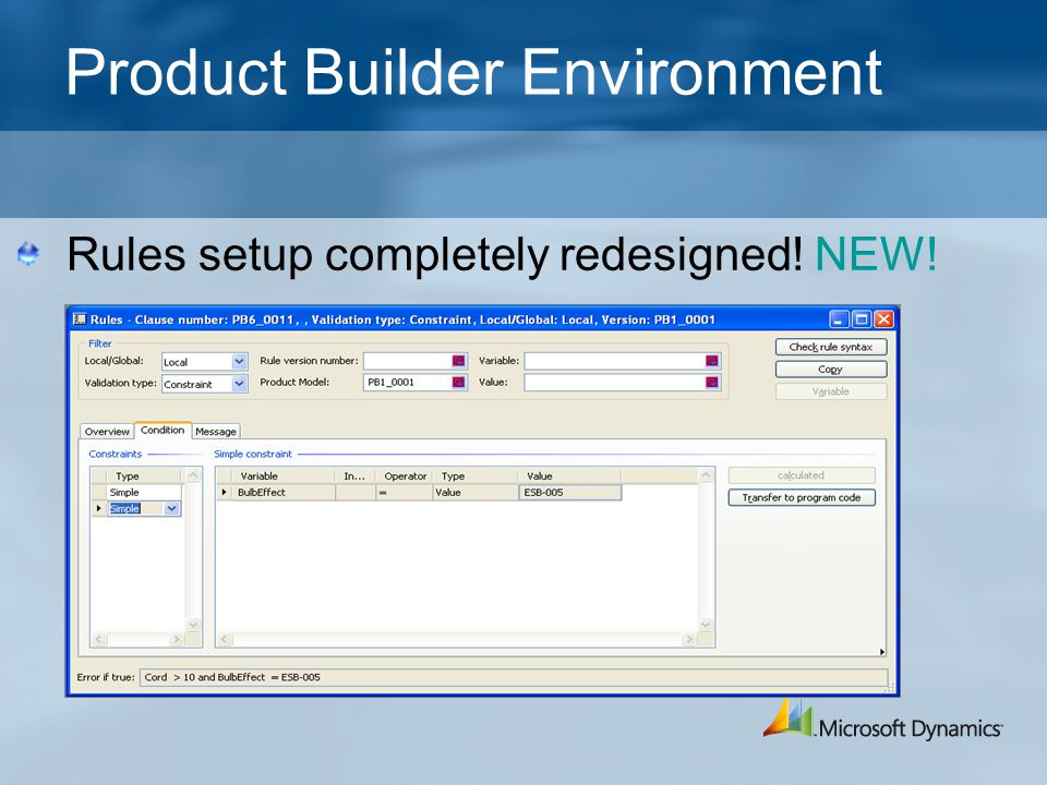 Product Builder Environment Rules setup completely redesigned! NEW!