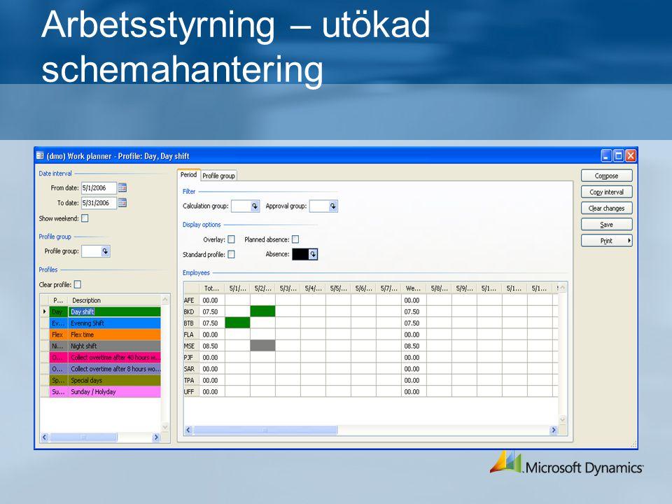 Arbetsstyrning – utökad schemahantering