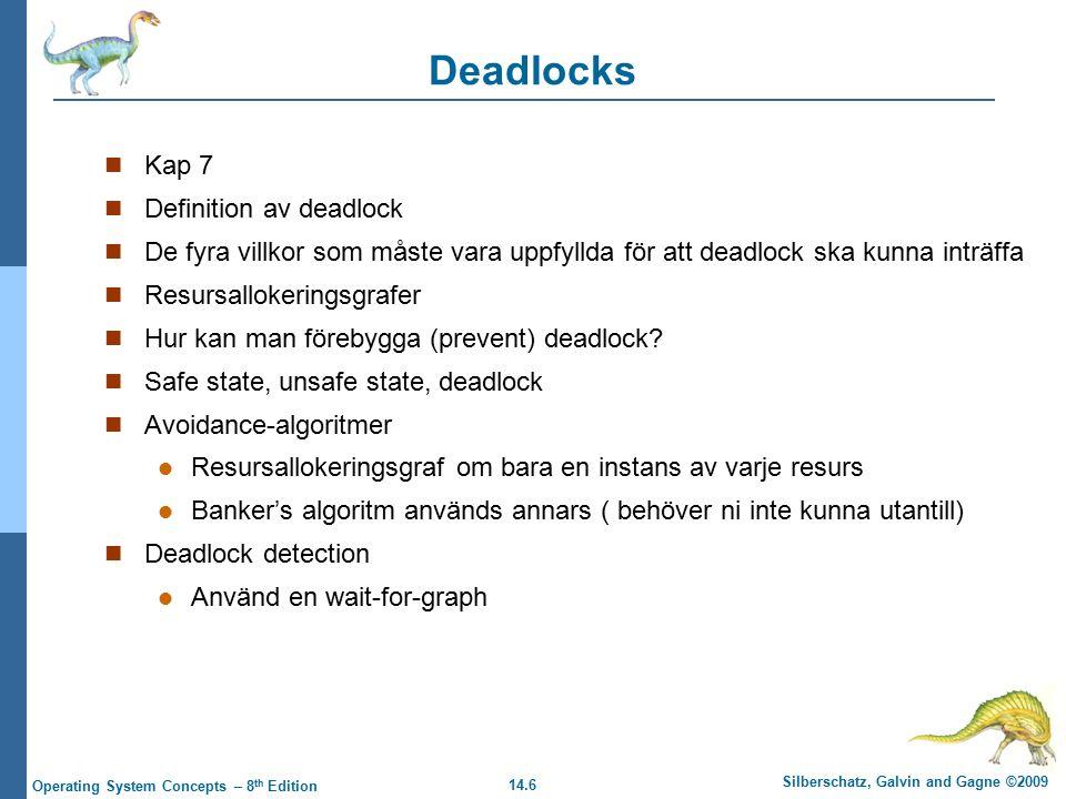 14.6 Silberschatz, Galvin and Gagne ©2009 Operating System Concepts – 8 th Edition Deadlocks Kap 7 Definition av deadlock De fyra villkor som måste va