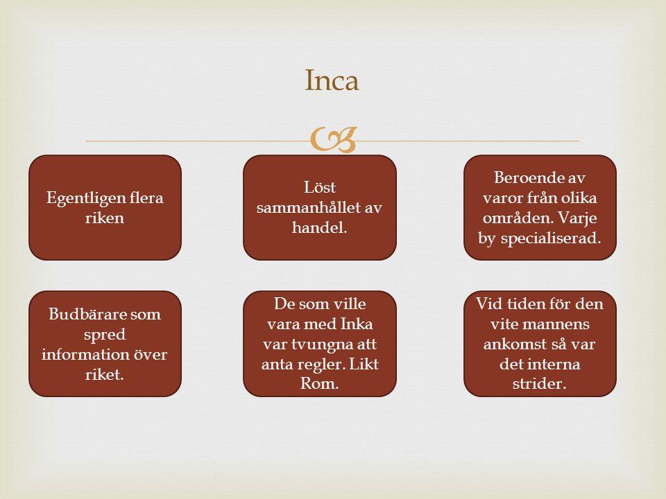  Inca Egentligen flera riken Löst sammanhållet av handel. Beroende av varor från olika områden. Varje by specialiserad. Budbärare som spred informati