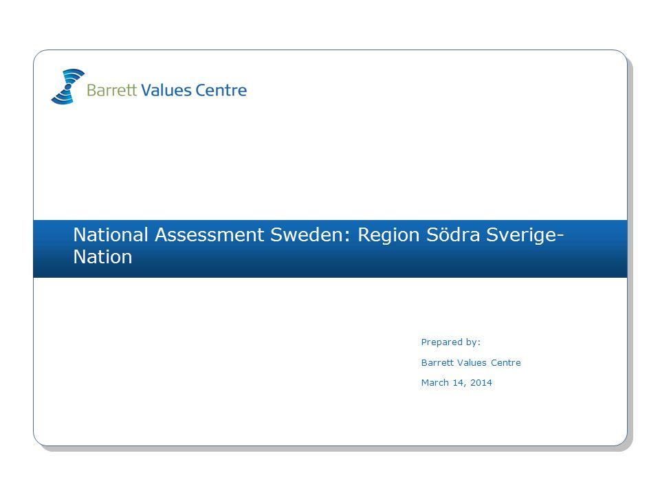 National Assessment Sweden: Region Södra Sverige- Nation (324) arbetslöshet (L) 1761(O) byråkrati (L) 1243(O) yttrandefrihet 1224(O) osäkerhet om framtiden (L) 1161(I) resursslöseri (L) 1083(O) materialistiskt (L) 1071(I) fred 1007(S) skyller på varandra (L) 982(R) kortsiktighet (L) 921(O) våld och brott (L) 811(R) arbetstillfällen 1751(O) ekonomisk stabilitet 1621(I) ansvar för kommande generationer 1397(S) välfungerande sjukvård 1091(O) fred 917(S) bevarande av naturen 886(S) demokratiska processer 854(R) omsorg om de äldre 844(S) miljömedvetenhet 786(S) jämlikhet 744(R) yttrandefrihet 744(O) Values Plot March 14, 2014 Copyright 2014 Barrett Values Centre I = Individuell R = Relationsvärdering Understruket med svart = PV & CC Orange = PV, CC & DC Orange = CC & DC Blå = PV & DC P = Positiv L = Möjligtvis begränsande (vit cirkel) O = Organisationsvärdering S = Samhällsvärdering Värderingar som matchar PV - CC 0 CC - DC 2 PV - DC 1 Kulturentropi: Nuvarande kultur 43% familj 1512(R) humor/ glädje 1425(I) ansvar 1244(I) tar ansvar 984(R) ärlighet 985(I) vänskap 952(R) positiv attityd 915(I) ekonomisk stabilitet 891(I) medkänsla 897(R) anpassningsbarhet 854(I) NivåPersonliga värderingar (PV)Nuvarande kulturella värderingar (CC)Önskade kulturella värderingar (DC) 7 6 5 4 3 2 1 IRS (P)=6-4-0 IRS (L)=0-0-0IROS (P)=0-0-1-1 IROS (L)=2-2-4-0IROS (P)=1-2-3-5 IROS (L)=0-0-0-0