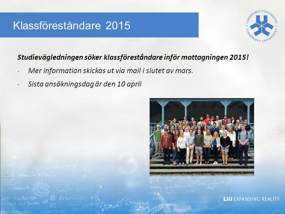 Klassföreståndare 2015 Studievägledningen söker klassföreståndare inför mottagningen 2015.