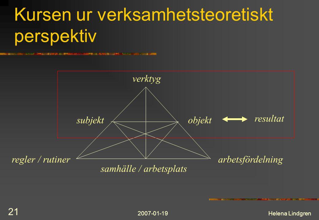 2007-01-19Helena Lindgren 21 Kursen ur verksamhetsteoretiskt perspektiv verktyg subjektobjekt regler / rutinerarbetsfördelning samhälle / arbetsplats resultat
