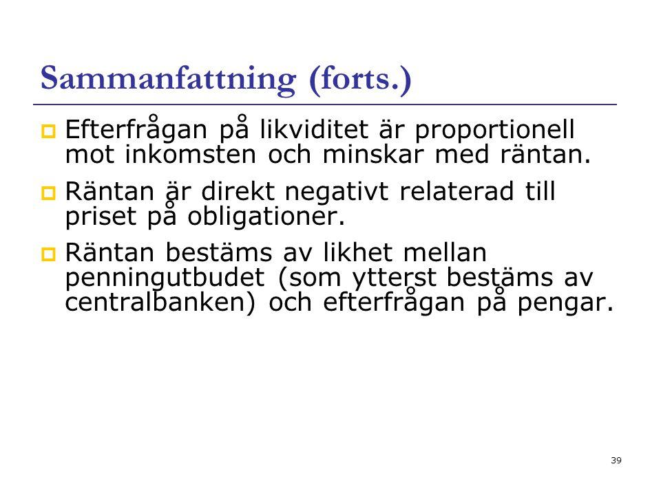 39 Sammanfattning (forts.)  Efterfrågan på likviditet är proportionell mot inkomsten och minskar med räntan.  Räntan är direkt negativt relaterad ti