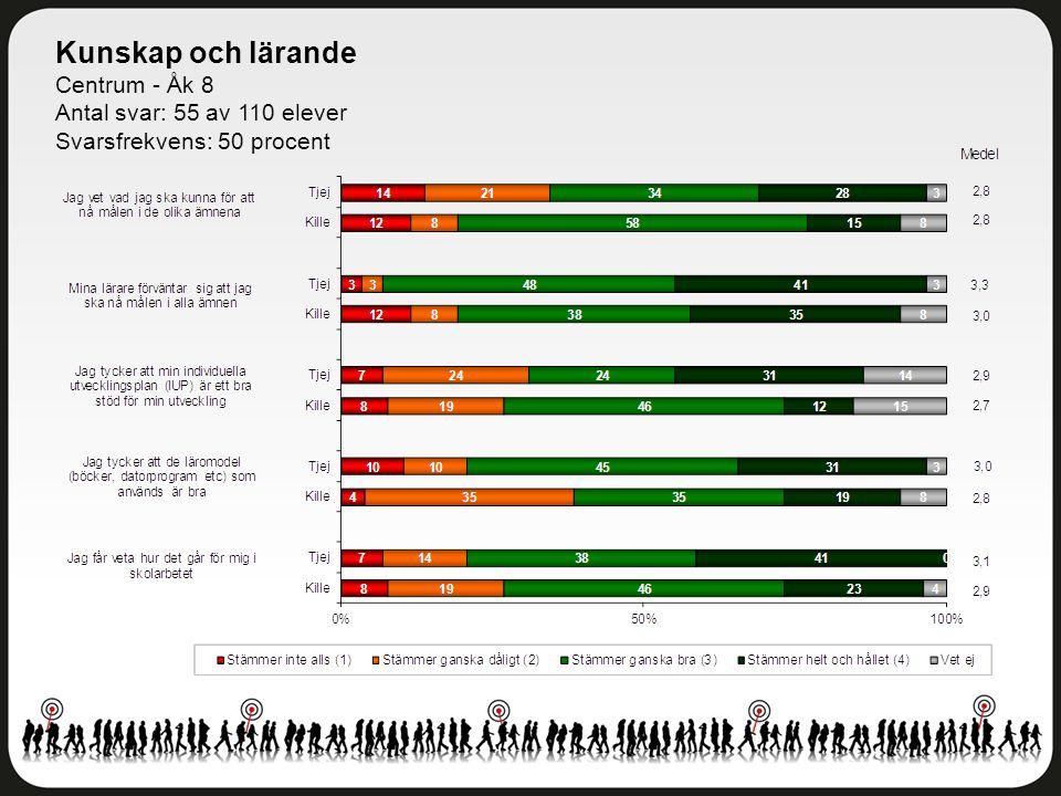 Kunskap och lärande Centrum - Åk 8 Antal svar: 55 av 110 elever Svarsfrekvens: 50 procent
