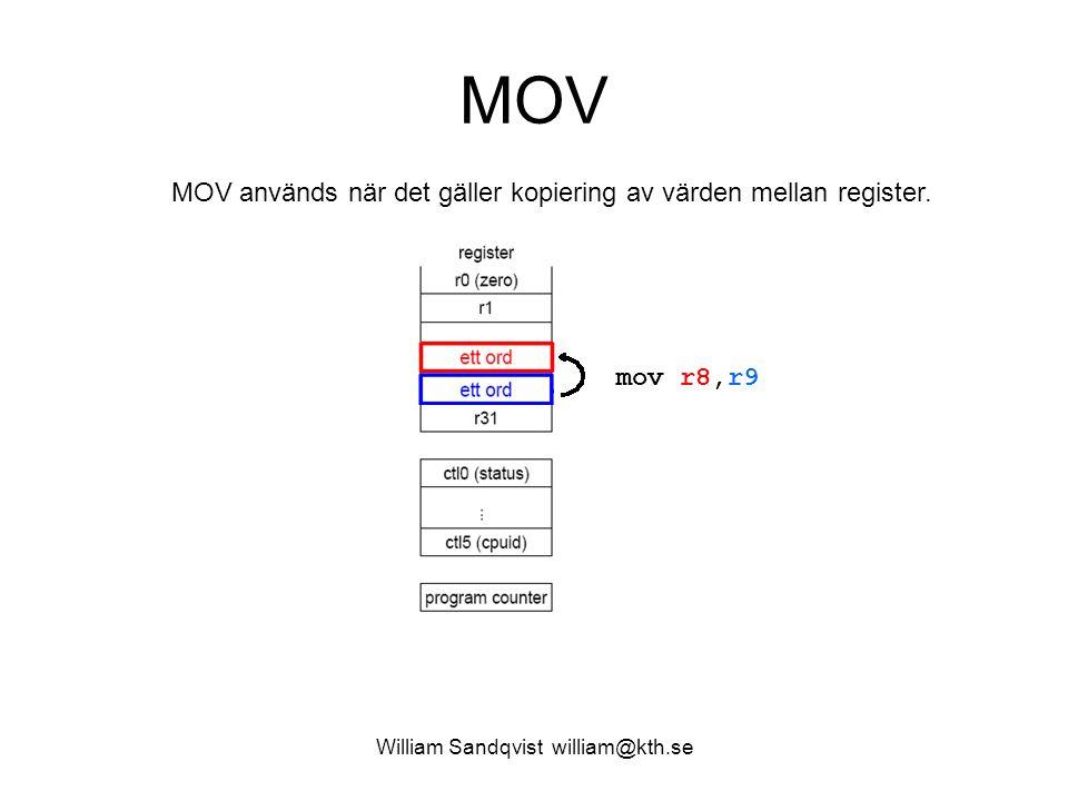 William Sandqvist william@kth.se MOV mov r8,r9 MOV används när det gäller kopiering av värden mellan register.