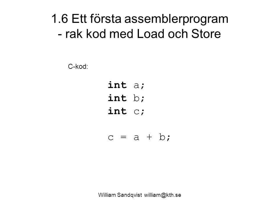 William Sandqvist william@kth.se 1.6 Ett första assemblerprogram - rak kod med Load och Store int a; int b; int c; c = a + b; C-kod: