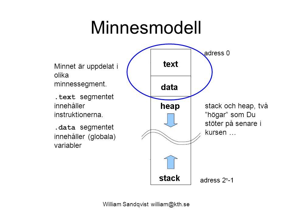 William Sandqvist william@kth.se Minnesmodell Minnet är uppdelat i olika minnessegment..text segmentet innehåller instruktionerna..data segmentet inne